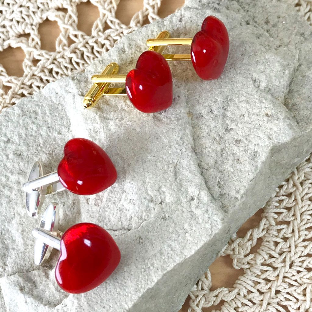 Wickstead's-AWDesigns-Red-Heart-Fused-Glass-Cufflinks-(5)