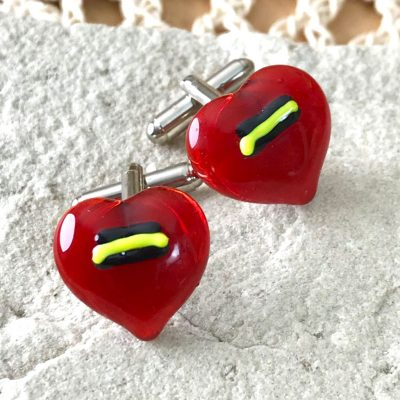 Wicksteads AWDesignsUK Yellow and Black Detailed Red Glass Cufflinks