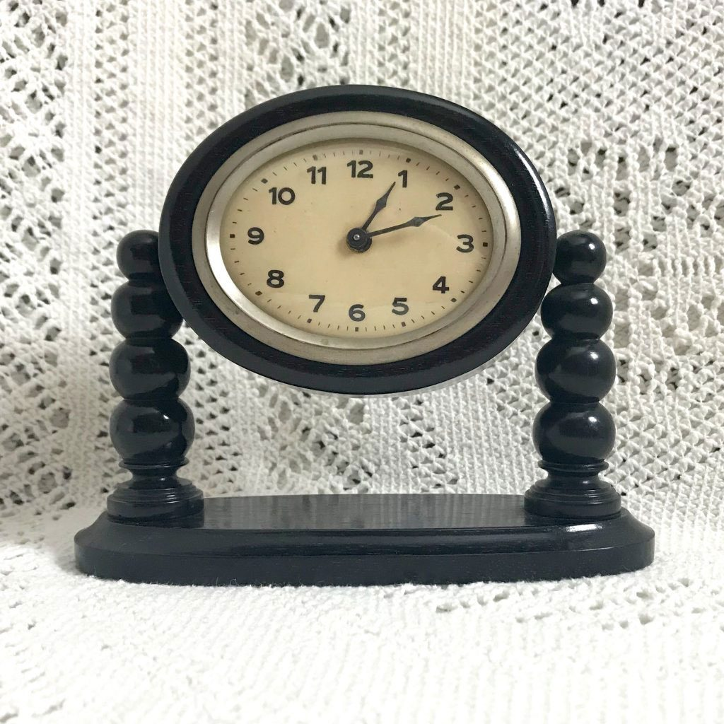 Wicksteads Antique Ebony Wooden Mantel Clock