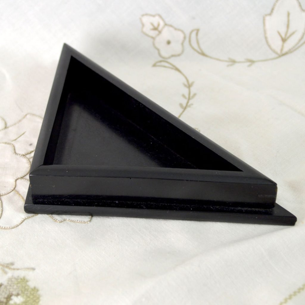 Wicksteads Antique Ebony Wood Triangle Corner Desk Tray