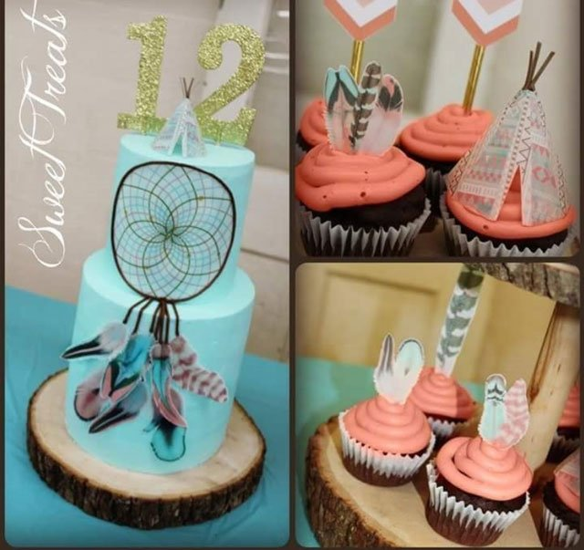 Wickstead's-Customer-Photo-of-our-Cotton-Candy-Feathers-and-Dreamcatcher-on-a-Cake-and-Cupcakes-by-Sweet-Treats