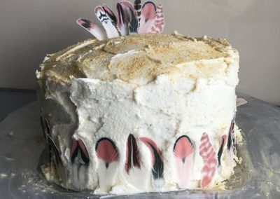 Wickstead's-Customer-Photo-of-our-Pink-Sherbet-Feathers-on-a-Buttercream-Cake