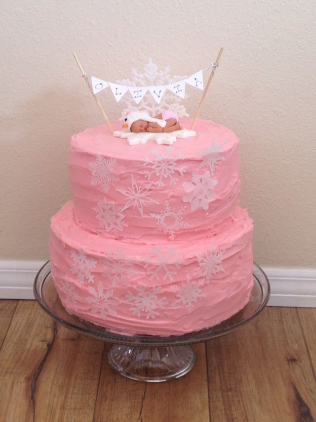 Wickstead's-Eat-Me-Customer's-Photos-White-Medium-Snowflakes-on-Tiered-Pink-Baby-Shower-Cake