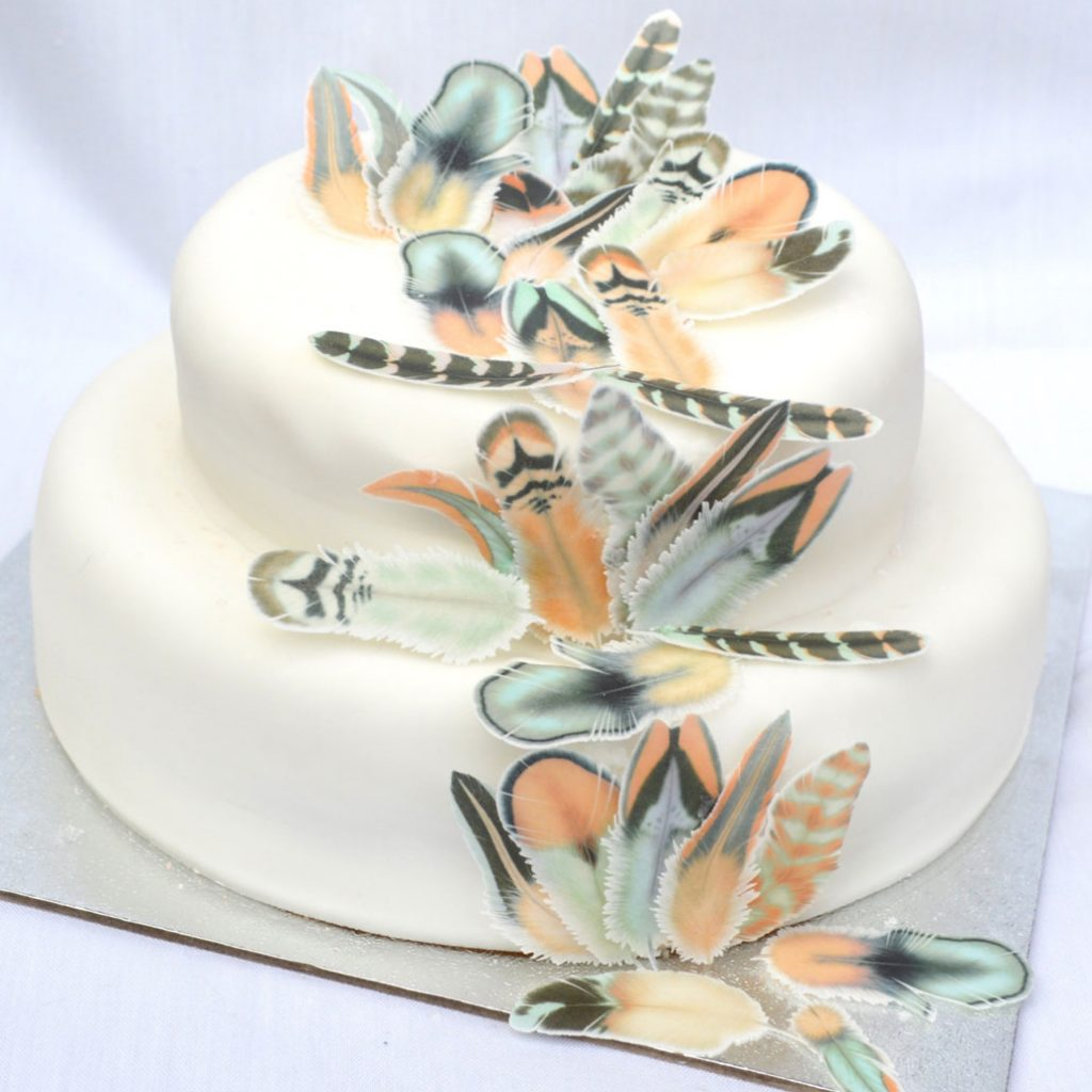 Wickstead's-Eat-Me-Edible-Chocolate-Orange-Boho-Feathers-on-2-tiered-white-cake