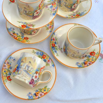 Wickstead's Vintage Hampton Ivory Olde English Garden China Espresso Coffee Can Set