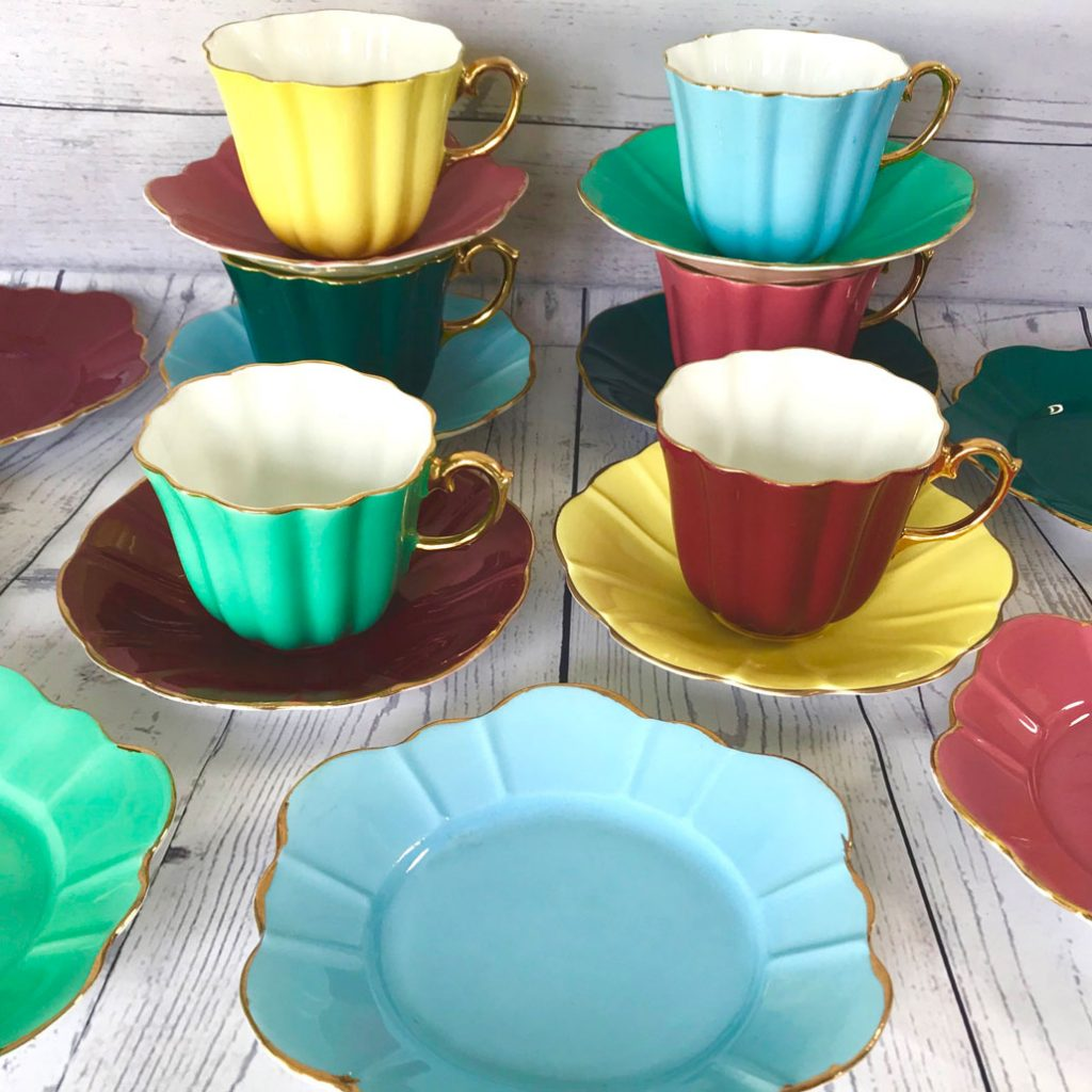 Wickstead's-Colourful-Harlequin-Breakfast-Tea-Cup-Set-Royal-Stuart-Spencer-Stevenson-English-Bone-China-Fluted-Petal-Shapes-(9)