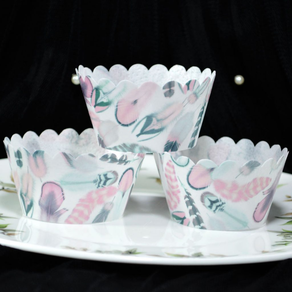 Wickstead's-Eat-Me-100%-Edible-Cupcake-Wrappers-from-our-Sherbet-Tea-Rose-Boho-Feather-Collection