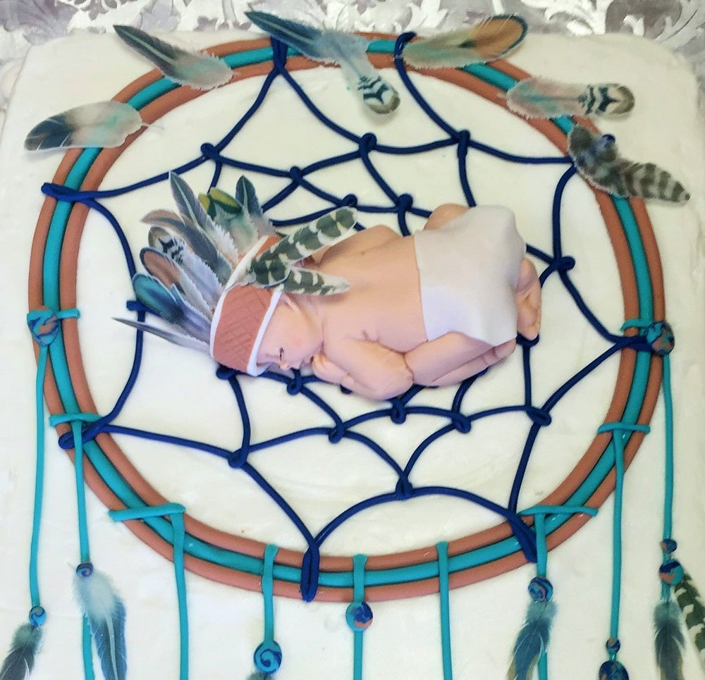 Wickstead's-Customer-Photo-of-our-Edible-Boho-Feathers-on-Newborn-Cake-(1)
