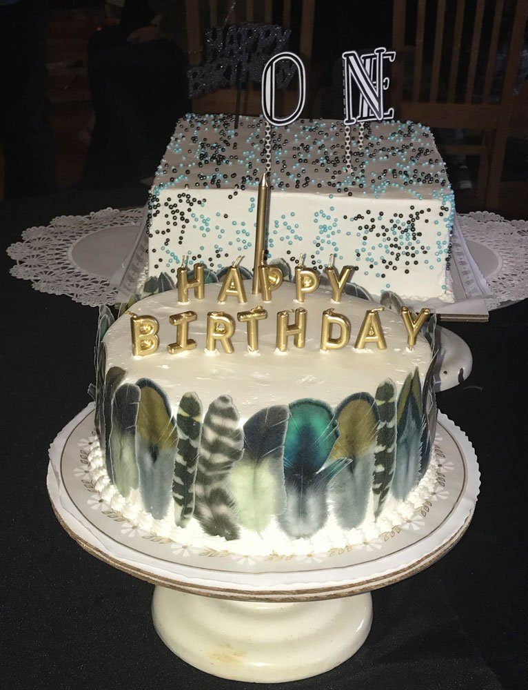 Wickstead's-Customer-Photo-of-our-XLarge-Natural-Boho-Feathers-around-a Wild One Birthday-Cake-(1)