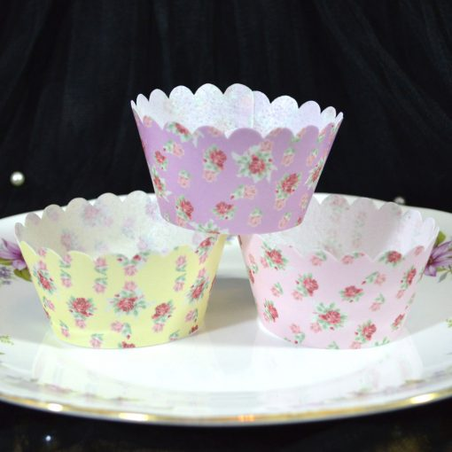 Wickstead's-Eat-Me-100%-Edible-Cupcake-Wrappers-Floral-Rose-Chintz-Yellow-Purple-Pink