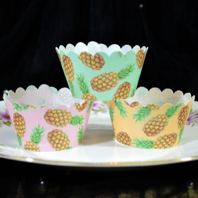 Wickstead's-Eat-Me-100%-Edible-Cupcake-Wrappers-Tropical-Pineapple-Fruit-Chintz-Pink-Green-Orange