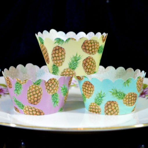 Wickstead's-Eat-Me-100%-Edible-Cupcake-Wrappers-Tropical-Pineapple-Fruit-Chintz-Purple-Yellow-Blue