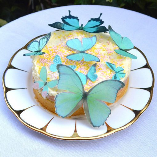 Wickstead's-Eat-Me-Edible-Sugar-Free-Vanilla-Wafer-Rice-Paper-3D-Butterflies-Turquoise-(2)
