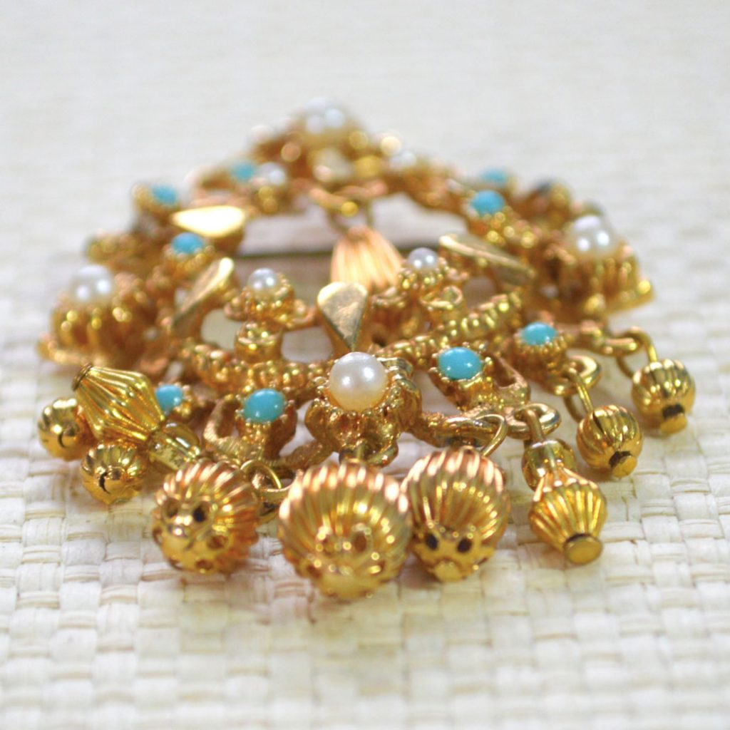 Wickstead's-Jewels-Treasures-Vintage-Gold-Brooch-Bead-Droplets-Faux-Pearls-Turquoise-Beads-(1)