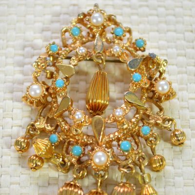 Wickstead's-Jewels-Treasures-Vintage-Gold-Brooch-Bead-Droplets-Faux-Pearls-Turquoise-Beads-(3)
