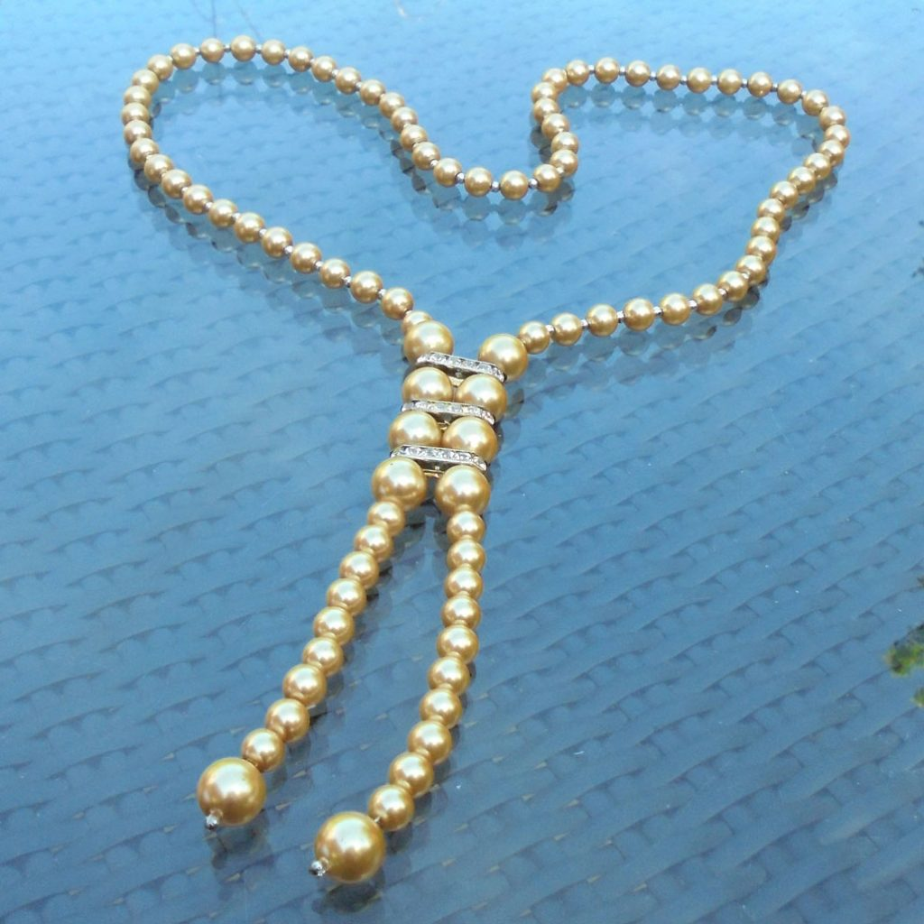 Wickstead's-Jewels-Treasures-Vintage-Pearls-Necklace—Cream-Beads-Diamante-Rhinestone-Silver-Detail-1920-30s-Flapper-Double-Drop-(3)