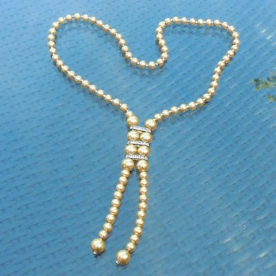 Wickstead's-Jewels-Treasures-Vintage-Pearls-Necklace—Cream-Beads-Diamante-Rhinestone-Silver-Detail-1920-30s-Flapper-Double-Drop-(5)
