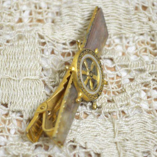 Wicksteads-Mr-Wickstead-Jewellery-Vintage-Tie-Bar-Clip-Spanish-Damascene-Toledo-Ware-Nautical-Ships-Wheel—Gold-Plated-(4)
