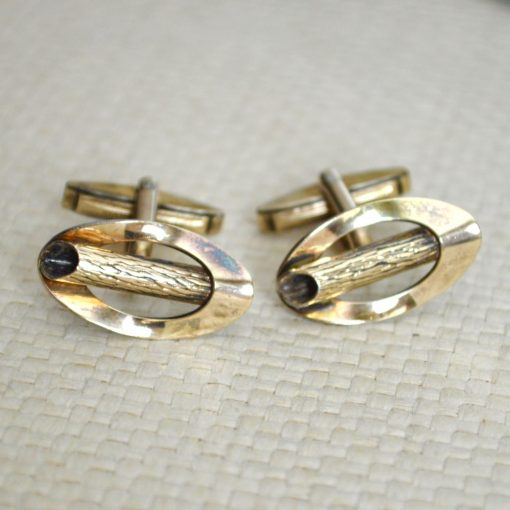 Wickstead's-Mr-Wickstead-Vintage-Cufflinks-9ct-Gold-Vermeil-Sterling-Silver–Oval-Fronts-with-Log-Bark-Effect-Detail-(2)