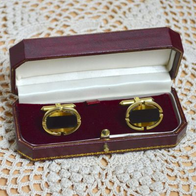 Wickstead's-Mr-Wickstead-Vintage-Cufflinks-Gold-Vermeil-Sterling-Silver-Oval-Black-Onyx-Tigers-Eye-Semi-Precious-Stones-Mosaic-(1)