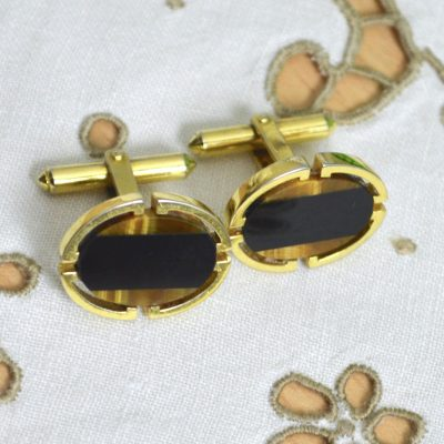 Wickstead's-Mr-Wickstead-Vintage-Cufflinks-Gold-Vermeil-Sterling-Silver-Oval-Black-Onyx-Tigers-Eye-Semi-Precious-Stones-Mosaic-(4)