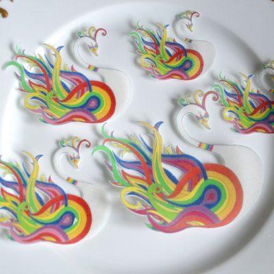 Wickstead's-Eat-Me-Edible-Sugar-Free-Vanilla-Wafer-Rice-Paper-Swan-Carnival-Rainbow-Swans-Pride-LGBT-(5)