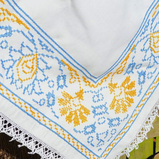 Wickstead's-Home-&-Living-Yellow-Blue-Cross-Stitch-Square-Tablecloth-(1)