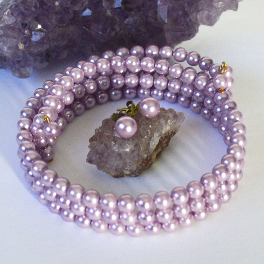Lavender-Pearls-Choker-&-Earrings-(3)