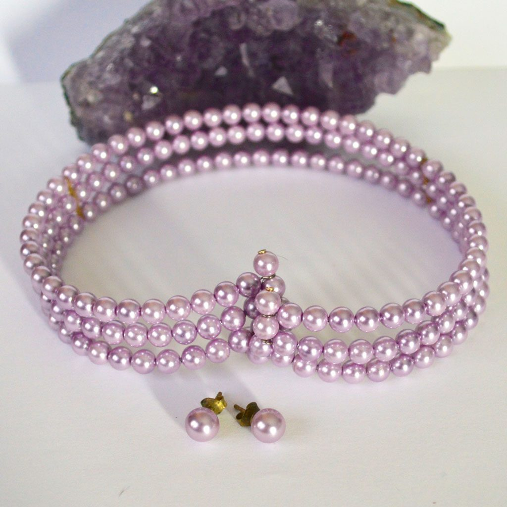 Lavender-Pearls-Choker-&-Earrings-(4)