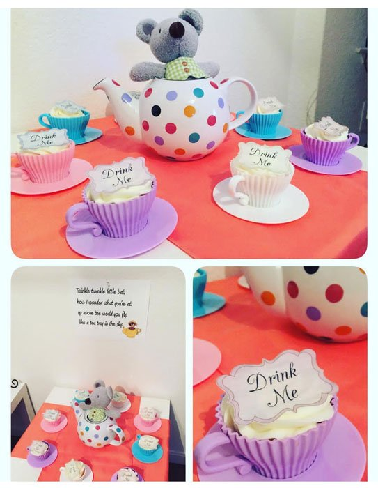 Wickstead's Eat Me Edible Drink Me Label on teacup cupcakes by @MyBakingHobby1985