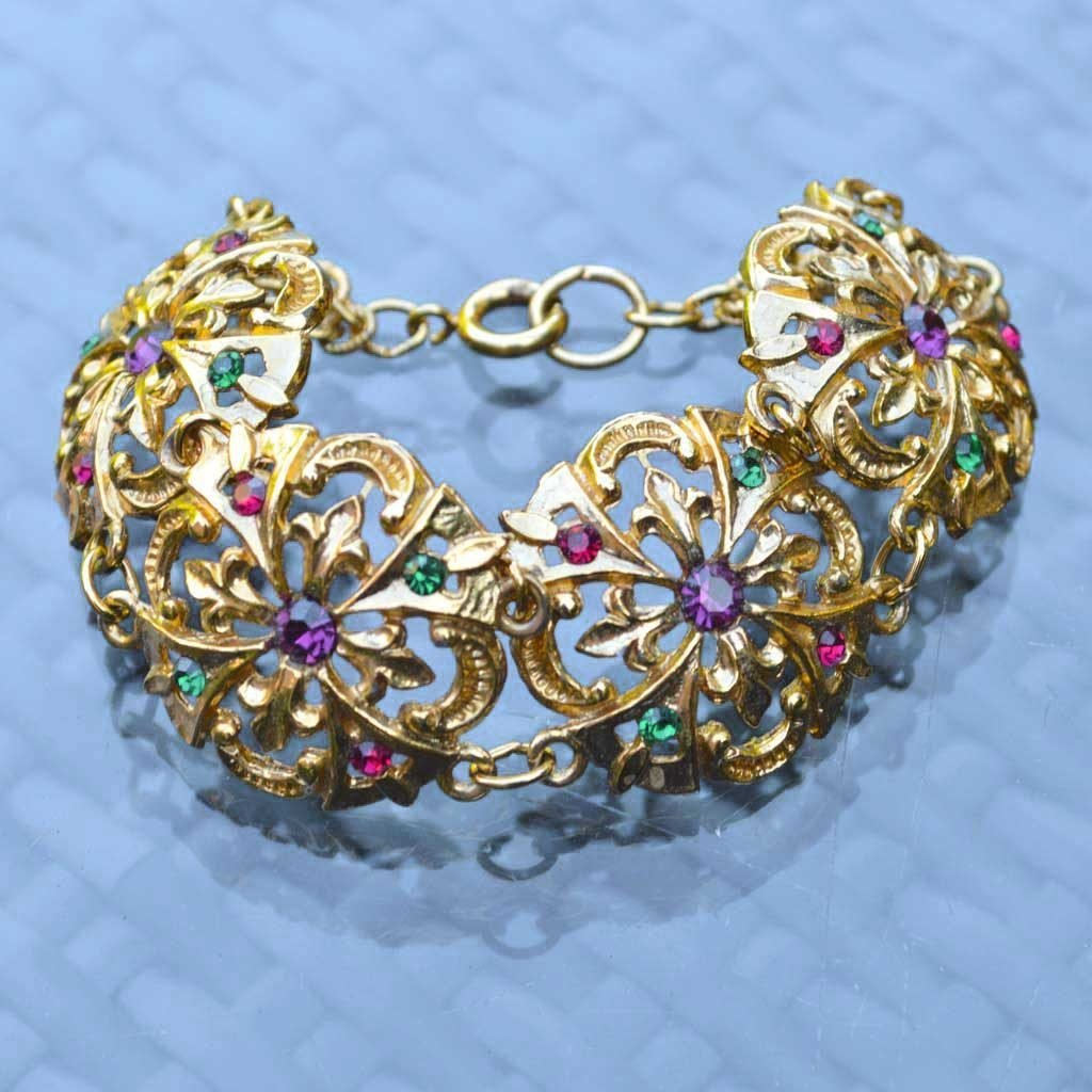 Wicksteads-Jewels-and-Treasures-Vintage-Bracelet–Gold-with-Coloured-Rhinestones-(1)