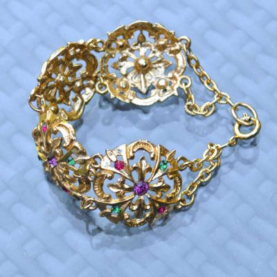 Wicksteads-Jewels-and-Treasures-Vintage-Bracelet–Gold-with-Coloured-Rhinestones-(2)