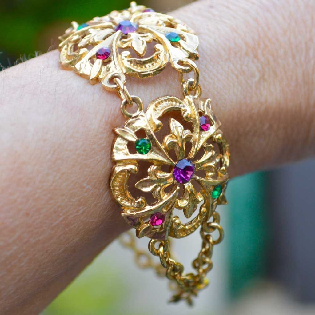 Wicksteads-Jewels-and-Treasures-Vintage-Bracelet–Gold-with-Coloured-Rhinestones-(3)
