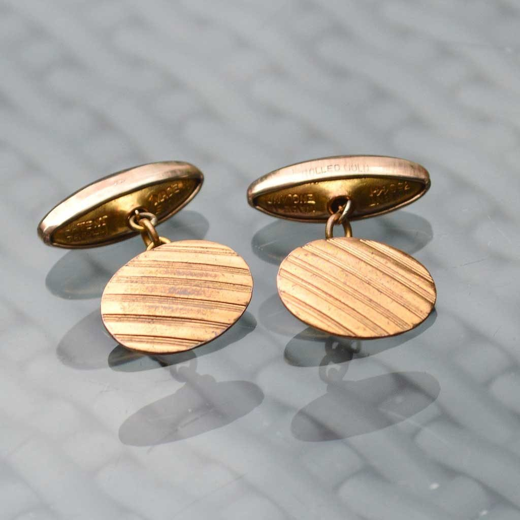 Wickstead's-Mr-Wickstead-Vintage-Cufflinks-Rolled-Gold-Retractable-Chain-Oval-Stripes-(2)
