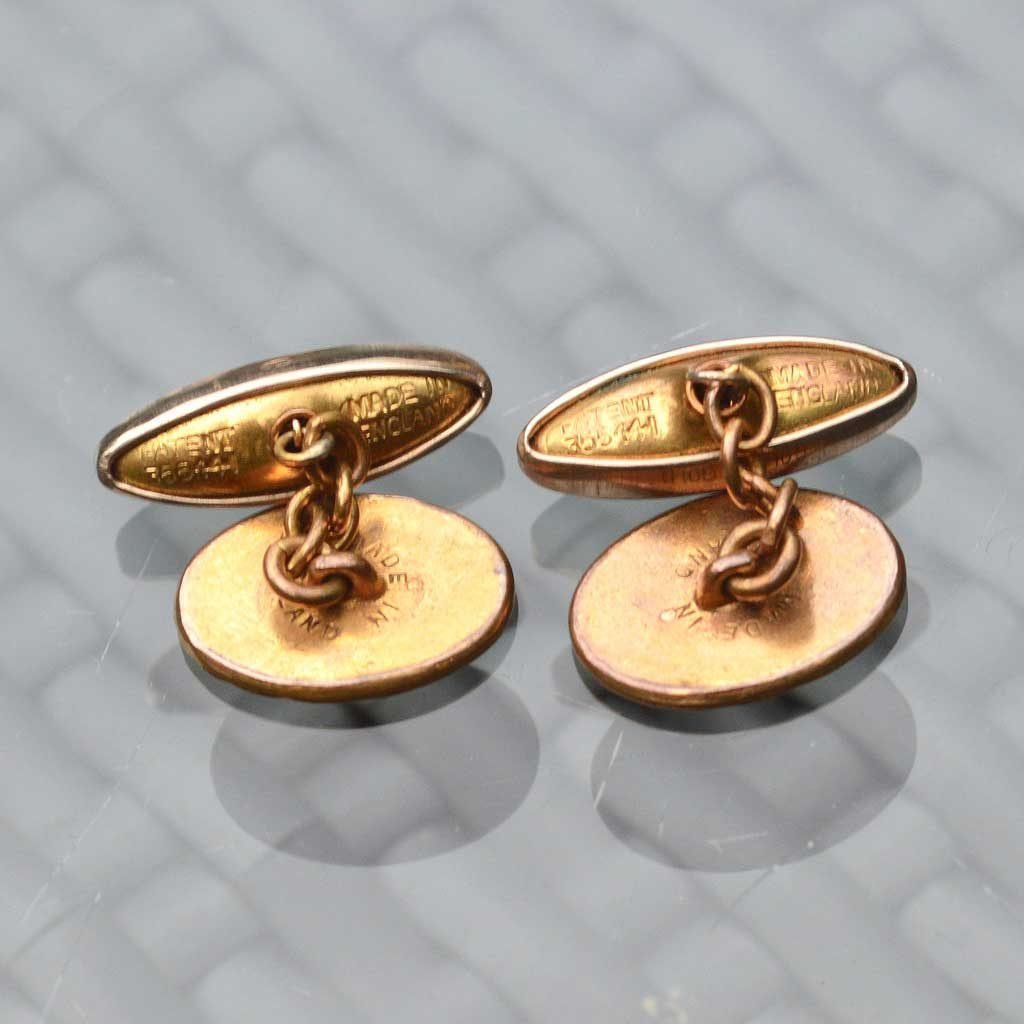 Wickstead's-Mr-Wickstead-Vintage-Cufflinks-Rolled-Gold-Retractable-Chain-Oval-Stripes-(3)