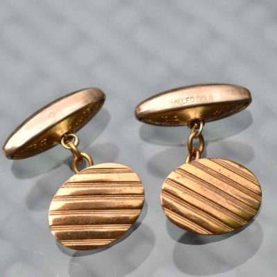Wickstead's-Mr-Wickstead-Vintage-Cufflinks-Rolled-Gold-Retractable-Chain-Oval-Stripes-(4)