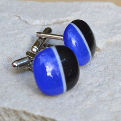 Wickstead's-AW-Designs-UK-Rainbow-Fused-Glass-Cufflinks–Black-Blue-(1) – Copy