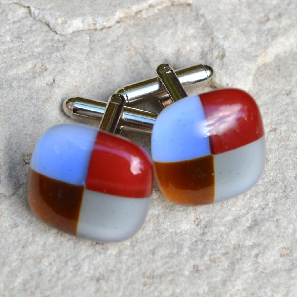 Wickstead's-AW-Designs-UK-Rainbow-Fused-Glass-Cufflinks–Checkered-(1) – Copy