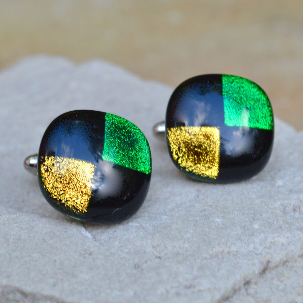 Wickstead's-AW-Designs-UK-Rainbow-Fused-Glass-Cufflinks-Dichroic-Green-Gold-on-Black-(1)