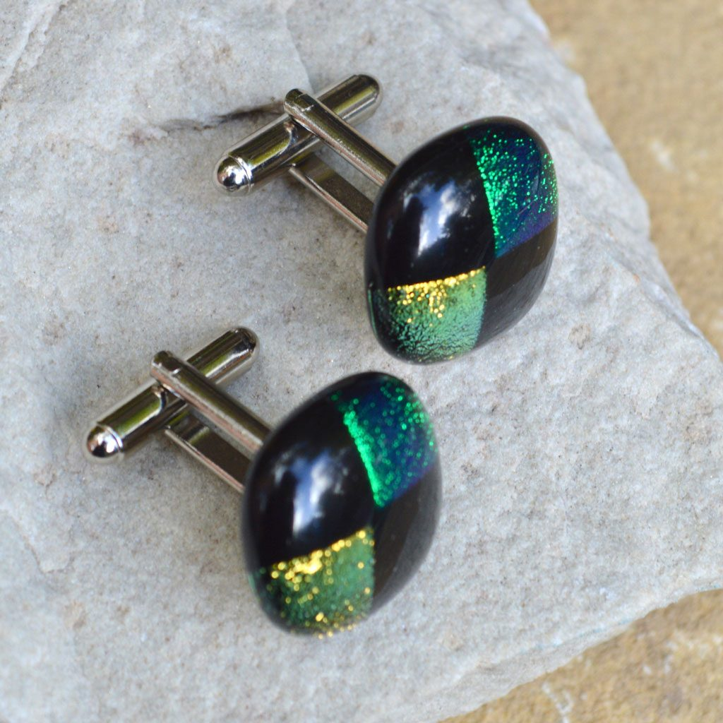 Wickstead's-AW-Designs-UK-Rainbow-Fused-Glass-Cufflinks-Dichroic-Green-Gold-on-Black-(2)