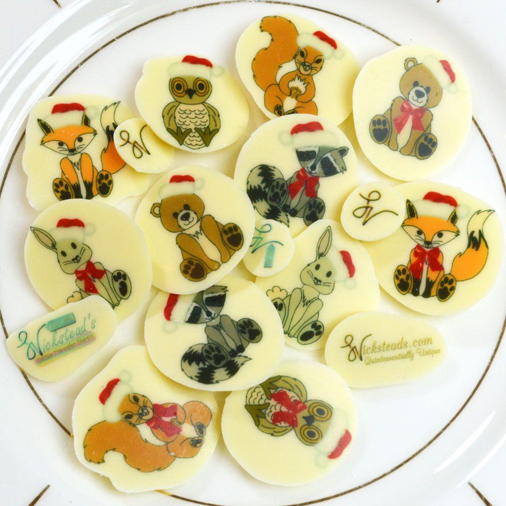 Wickstead's-Eat-Me-Edible-Meringue-&-Chocolate-Transfer-Sheets–Cute-Christmas-Animals-in-Santa-Hats-(2)