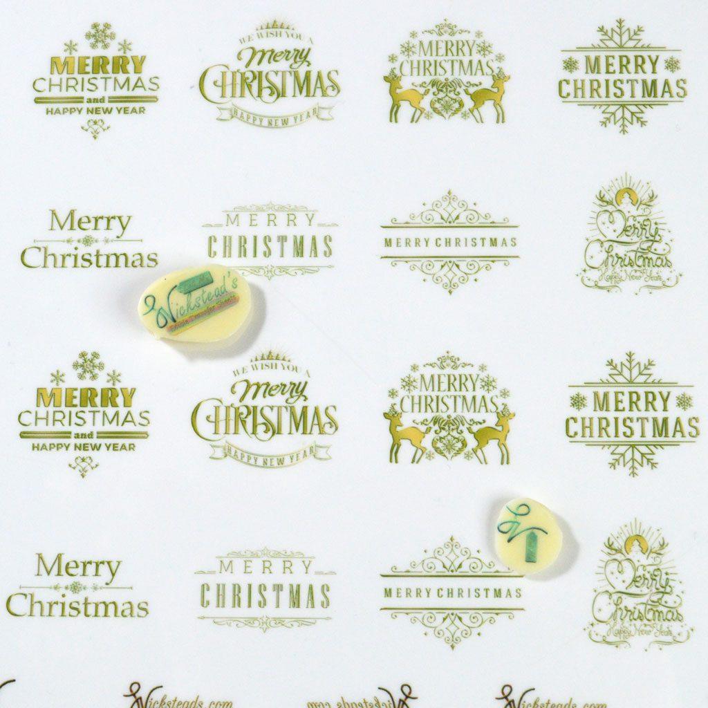 Wicksteads Edible Golden Merry Christmas Transfer Sheets