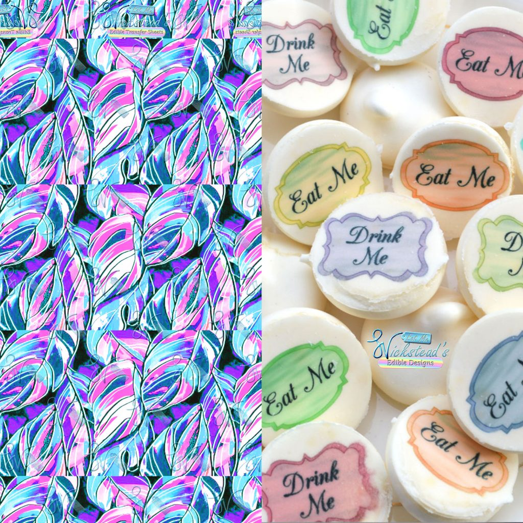 Wickstead's-Eat-Me-Edible-Meringue-Transfer-Sheets–Pink-Blue-Tropical-Leaves-(1)